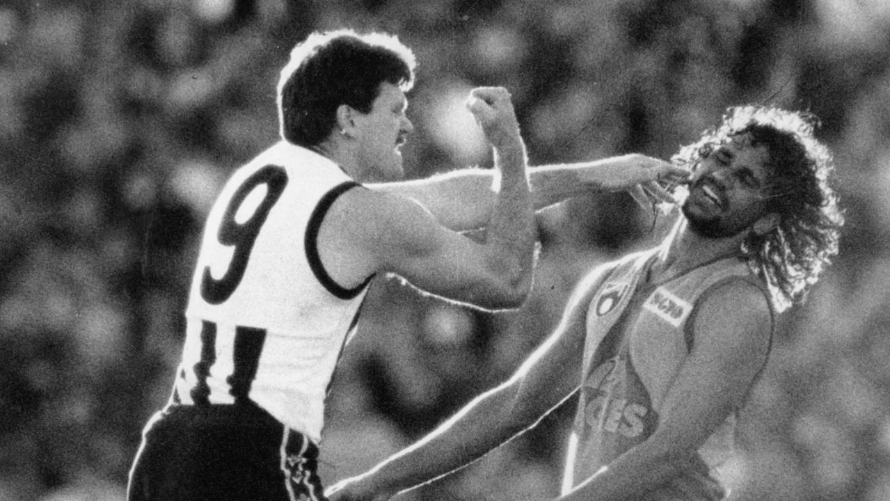Brian Taylor and Chris Lewis clash in 1990.