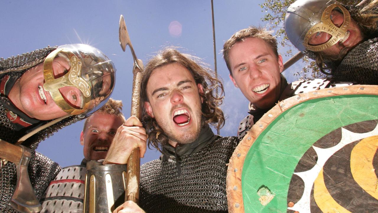 The Viking Culture Day held at North Tamborine sees (l to r) Cameron Davidson, Luke Payne, Chris Handley, Todd Hayden and Sam Nest dressed and ready for battle. Reporter: Gemma Patterson