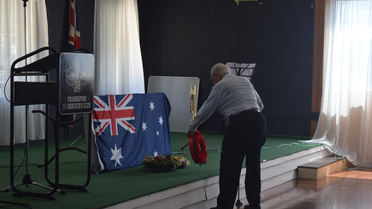 George Gnezdiloff, WWII veteran, laid a wreath as part of the ceremony today.