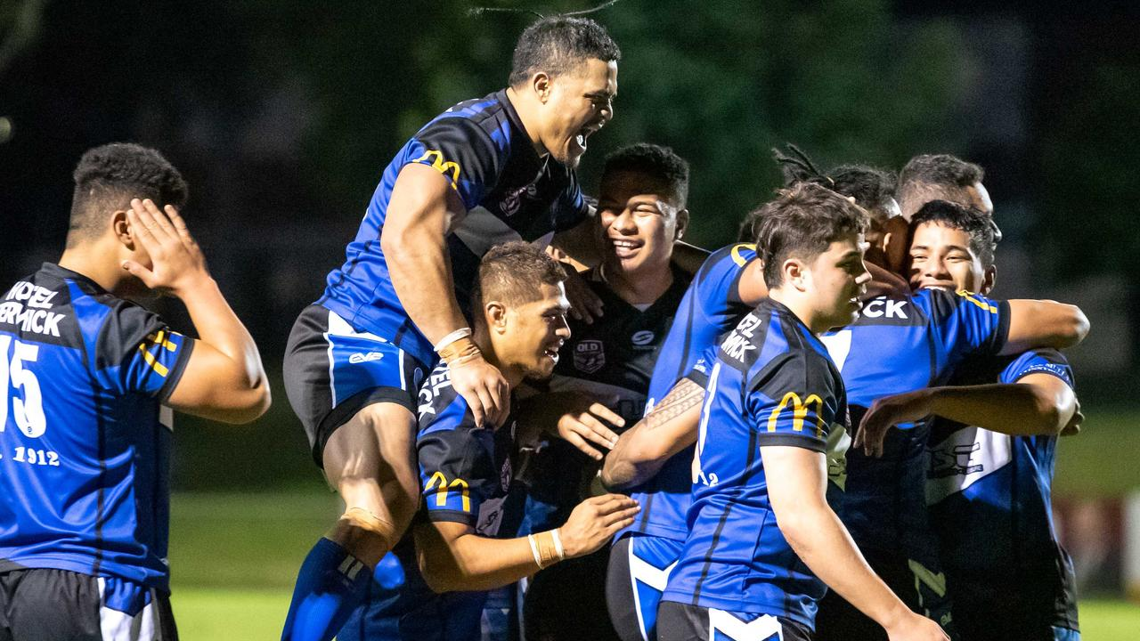 Goodna players celebrate their last-gasp victory over West End in the nailbiting Volunteers Cup match at the North Ipswich Reserve. The terrific battle was a fitting tribute to Matthew 'Kama' O'Brien. Picture: Bruce Clayton