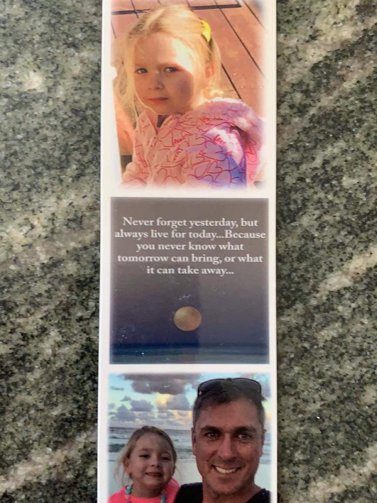 A bookmark Nathan Katterns had made as a tribute to his daughter.