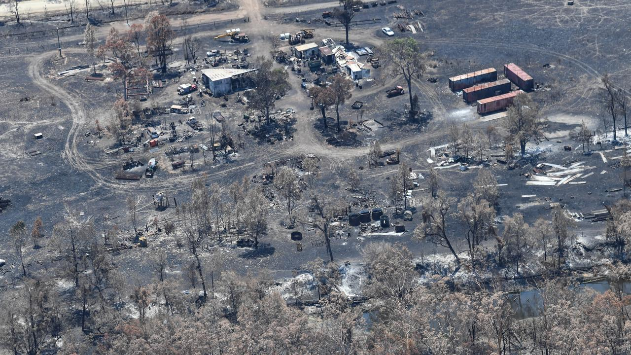 Aerial photo of the Cobraball bushfire aftermath.
