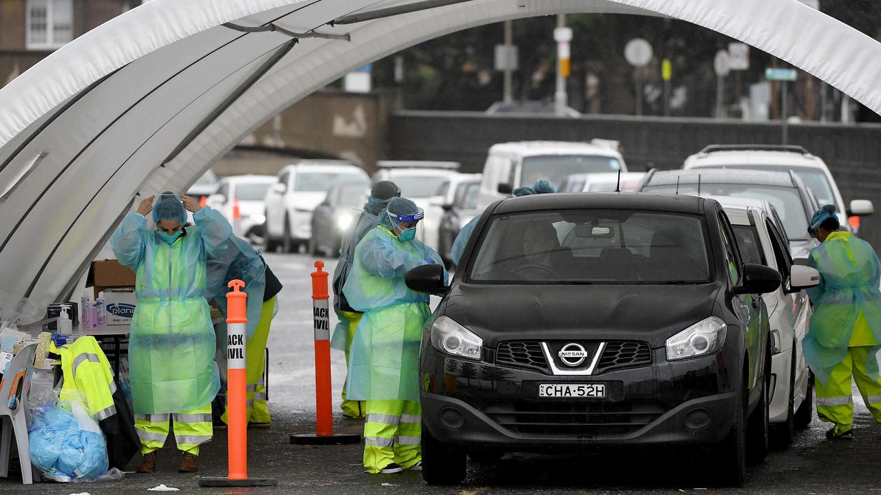 The fact that COVID-19 can linger in the air is particularly bad news for healthcare workers. NSW Health workers are seen administering COVID-19 tests to people in their cars at the Bondi drive through testing clinic in Sydney. Picture: NCA NewsWire / Bianca De Marchi