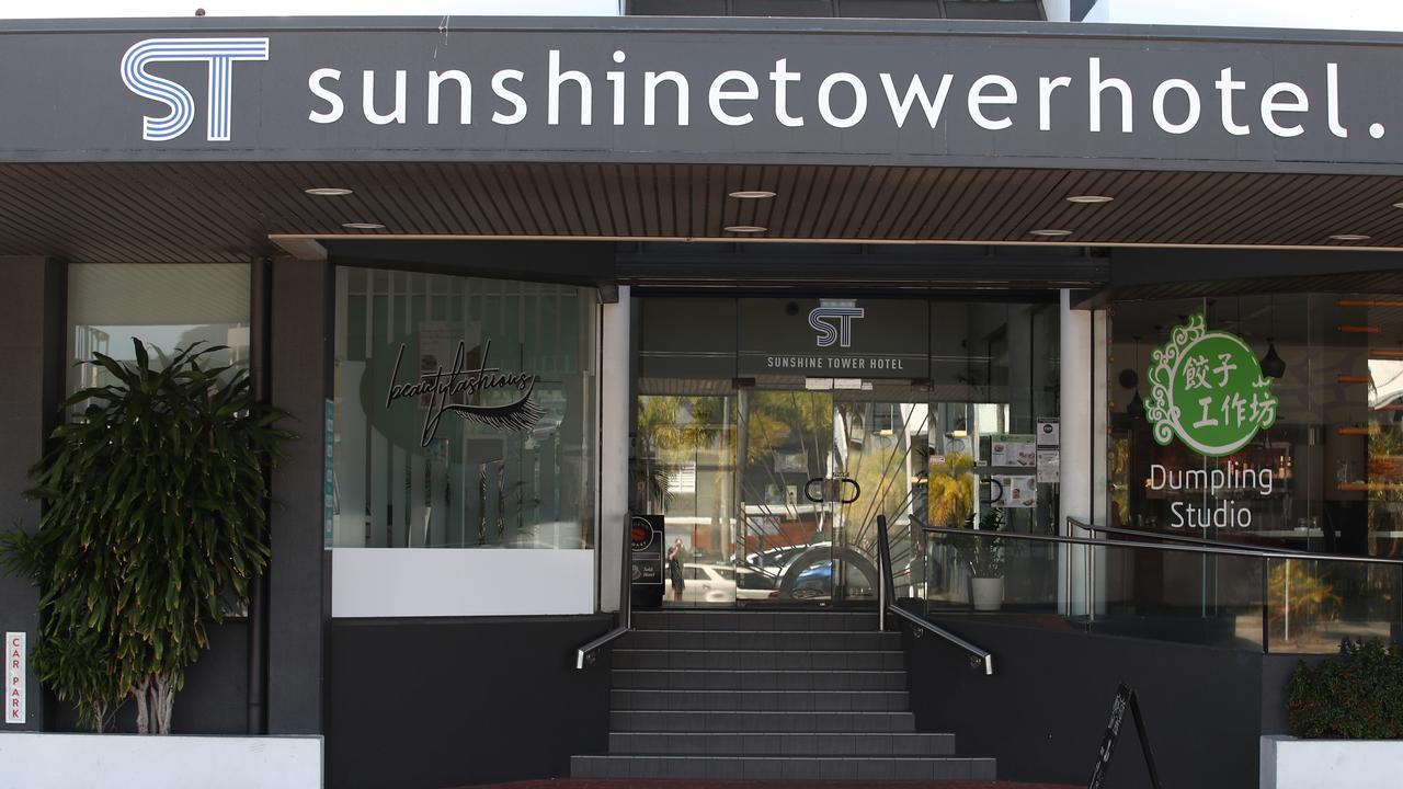 The Sunshine Tower Hotel, where Mr Brady's body was found. Picture: Brendan Radke