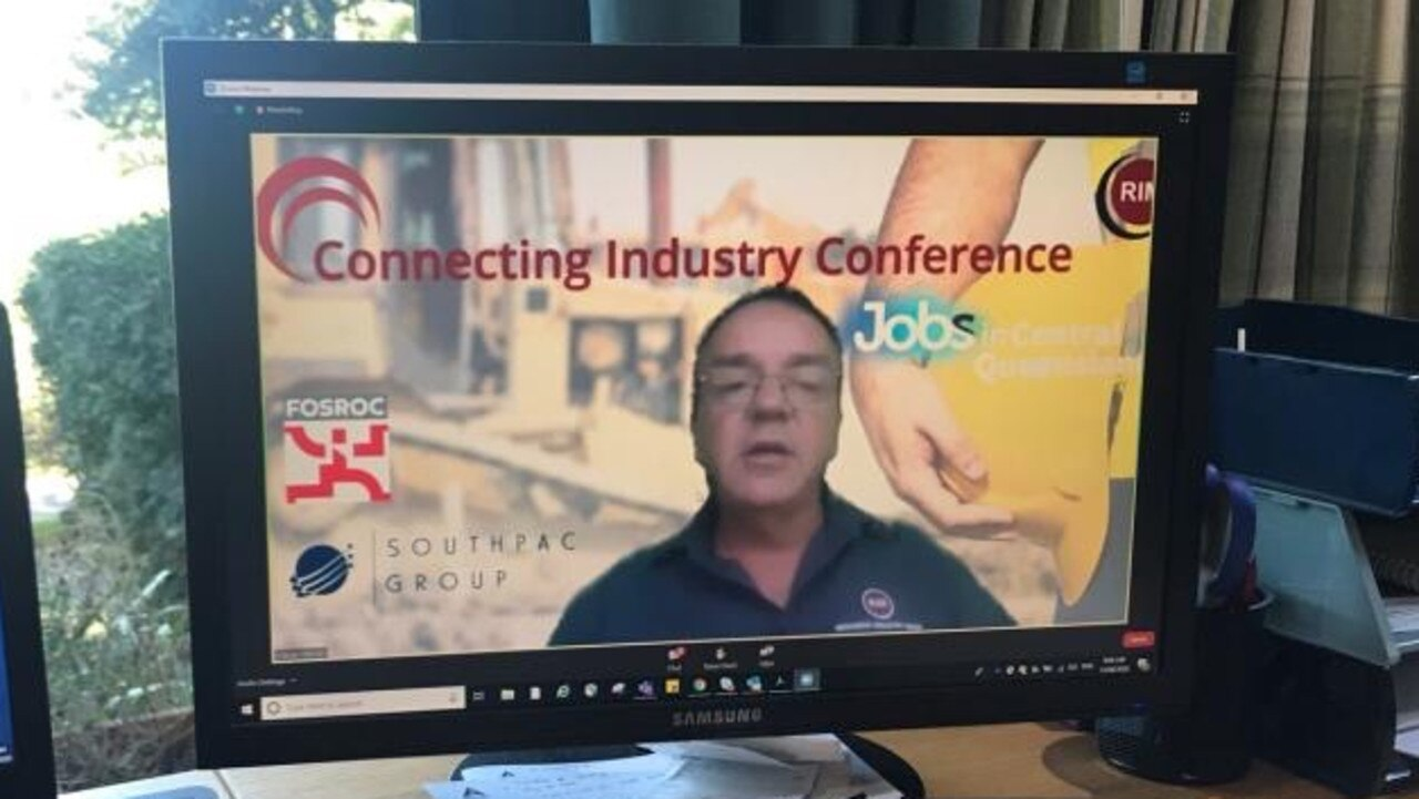 Resources Energy Media managing director Kieran Moran presenting during the online conference. Held via Zoom, the conference attracted the heavyweights of the Australian resources and construction industries discussing $15 billion in tenders, including the Gladstone Energy and Ammonia project.