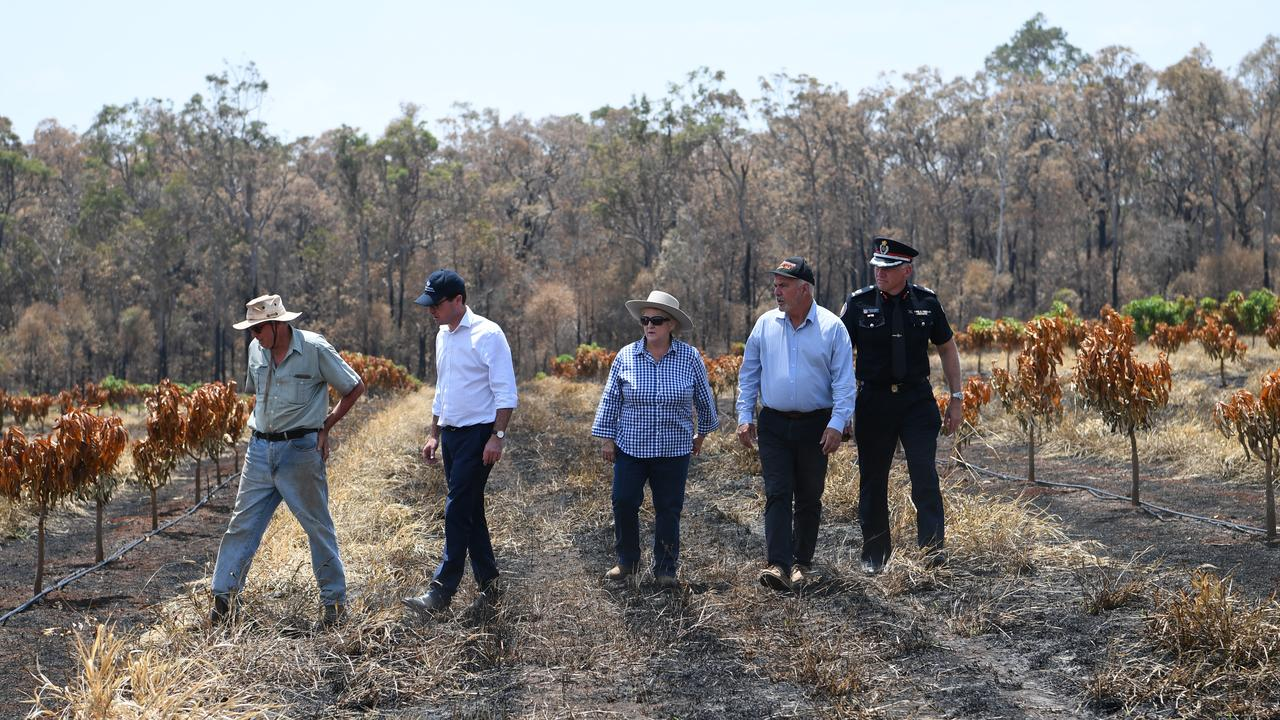 Bungundarra farmer Robert shows David Littleproud, Michelle Landry, Bill Ludwig and Steve Smith the bushfire devastation to his mango farm.