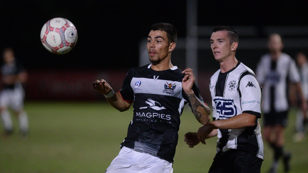 Magpies Crusaders forward Kyren Walters (left) snagged a hat-trick in the 7-0 win over Wanderers at the weekend. Photo: File