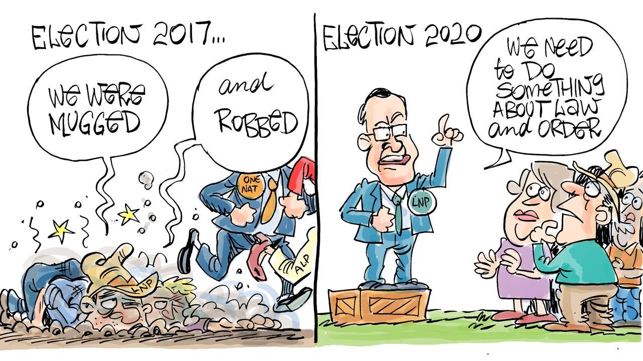 Daily Mercury cartoonist Harry Bruce's take on the Mackay crime forum. Sunday, August 16 2020.