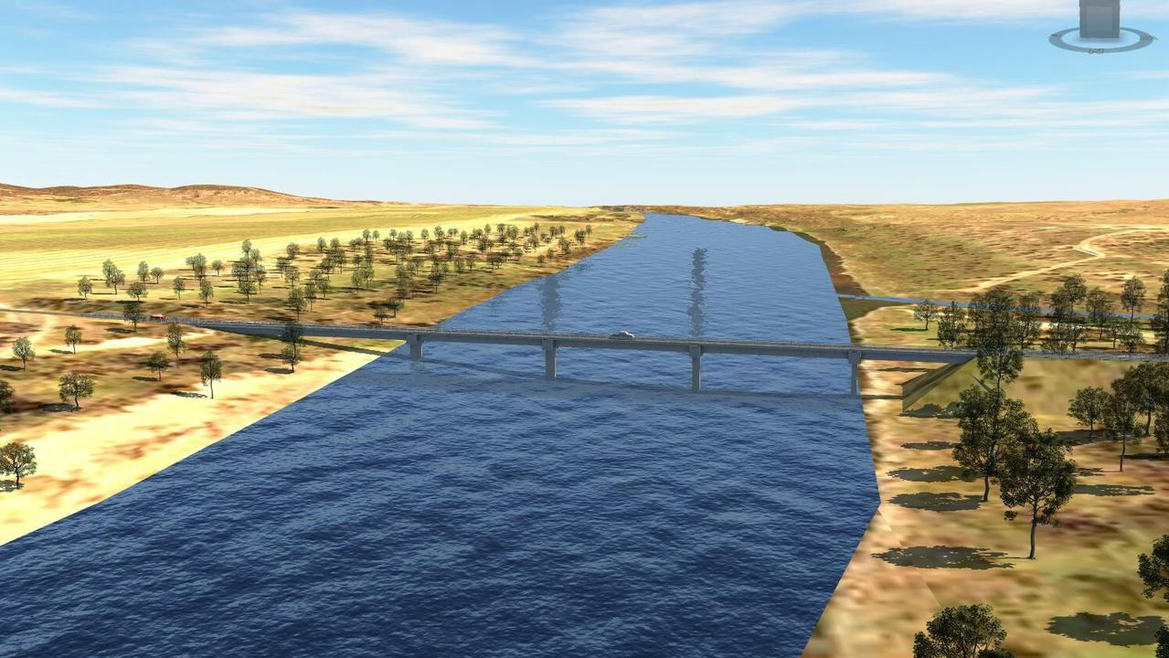 CONCEPT IMAGE: Artist's impression of the new Riverslea Bridge as part of the Rookwood Weir project.