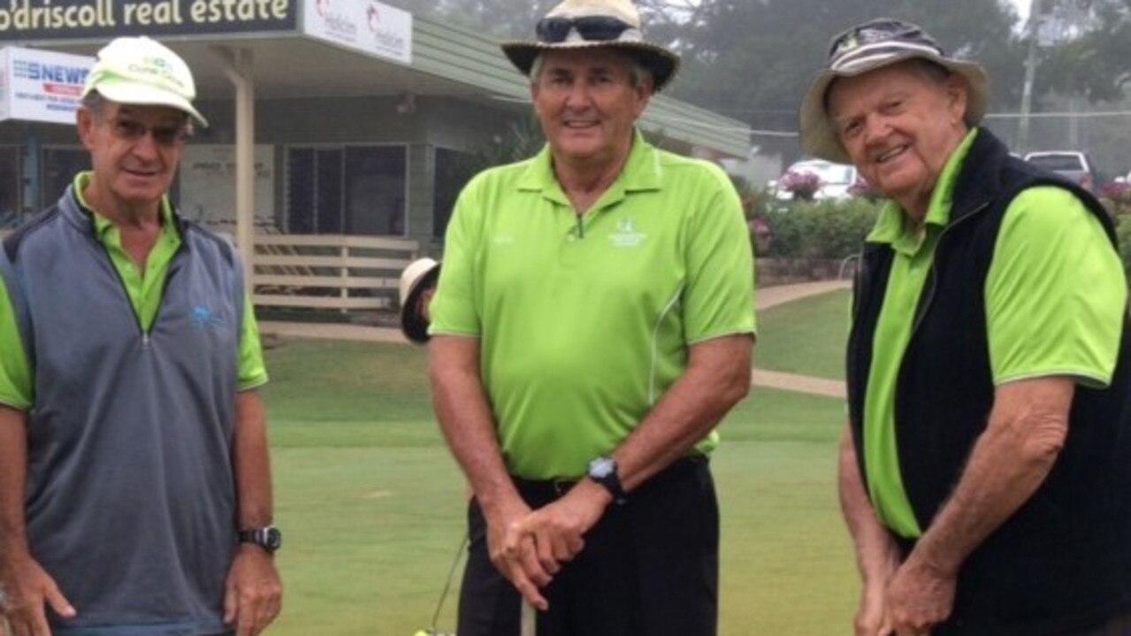 Gearing up for the veterans open championships are Rockhampton Veterans Golf Club president John Baly, John Klosterman and Merv Price.