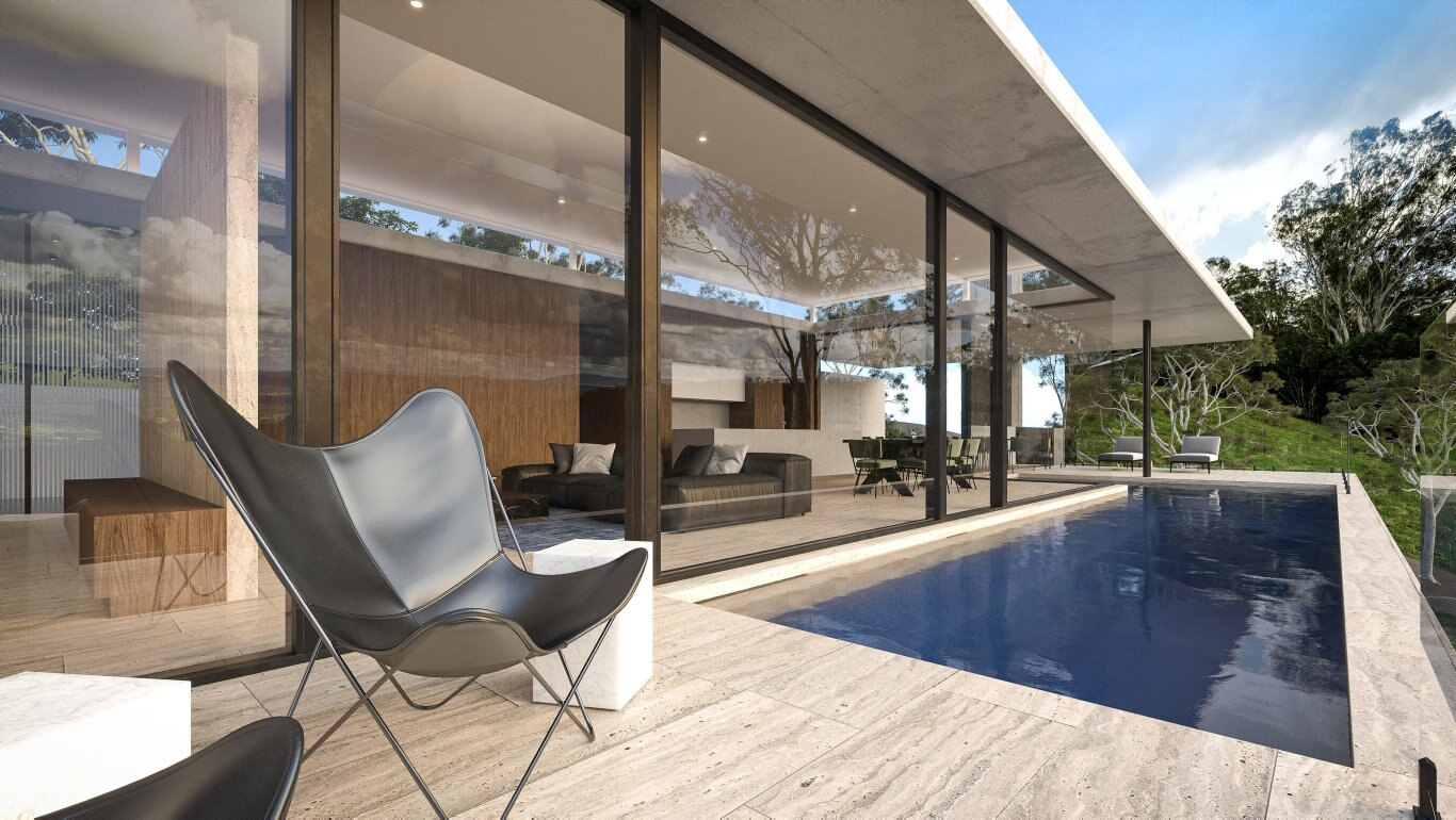 Renderings of the Fletcher St 'Cliffhanger' home, designed by Joe Adsett Architects and being built by Valdal Projects.