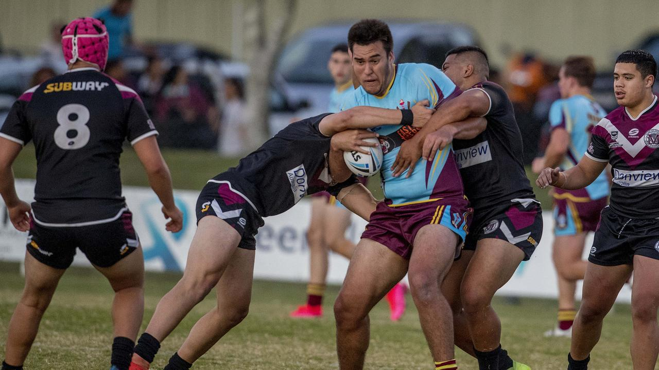 Langer Cup: Keebra Park SHS's Isaac Matalavea-Booth in action against Marsden SHS at Southport Tigers home ground Owen Park on Wednesday. Picture: Jerad Williams