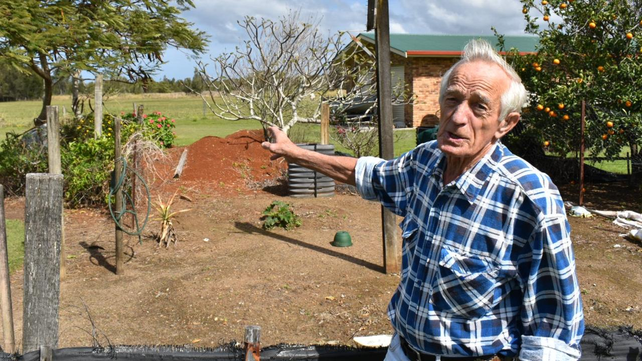 West Ballina resident Francis Bienke opposes a 300-strong development application that would surround the back of his property.