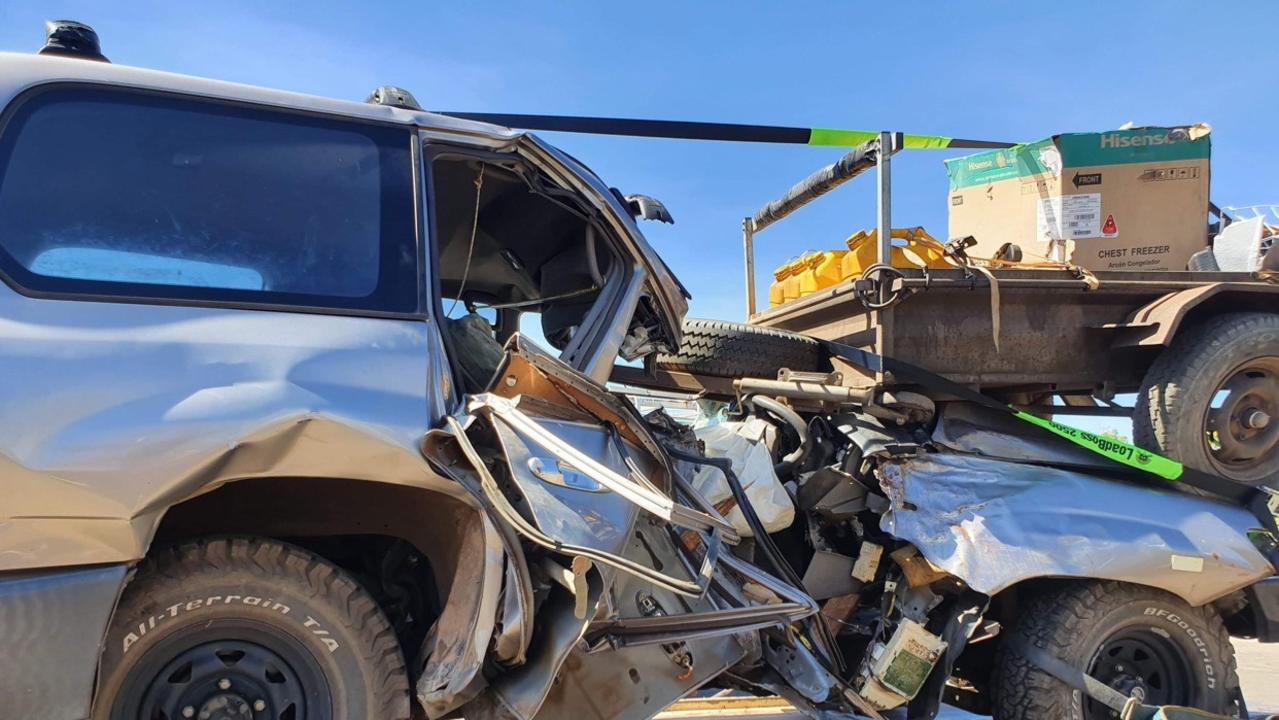 A Toyota Landcruiser involved in a single vehicle fatal crash on Barkly Highway on Saturday, August 15, 2020. Picture: Supplied
