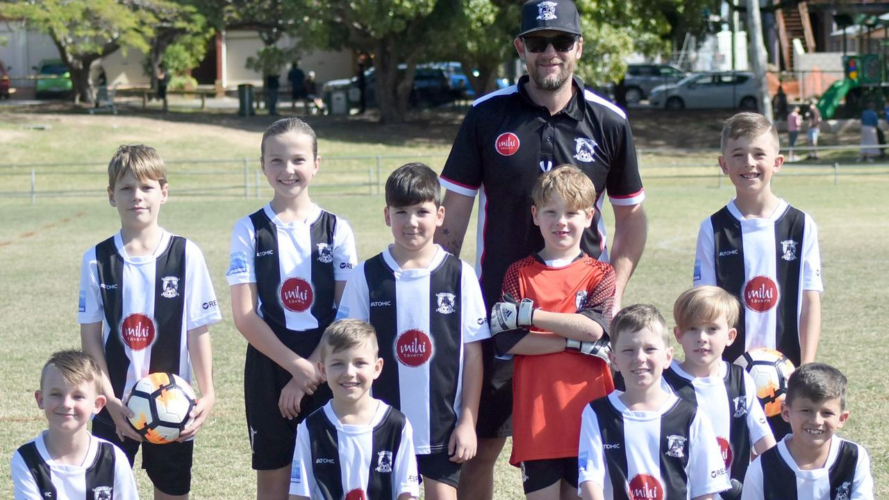 The Ipswich City Heat under-9 team, and coach Mitchell Gifford, playing in the Football Brisbane Komodo competition. Picture: Gary Reid