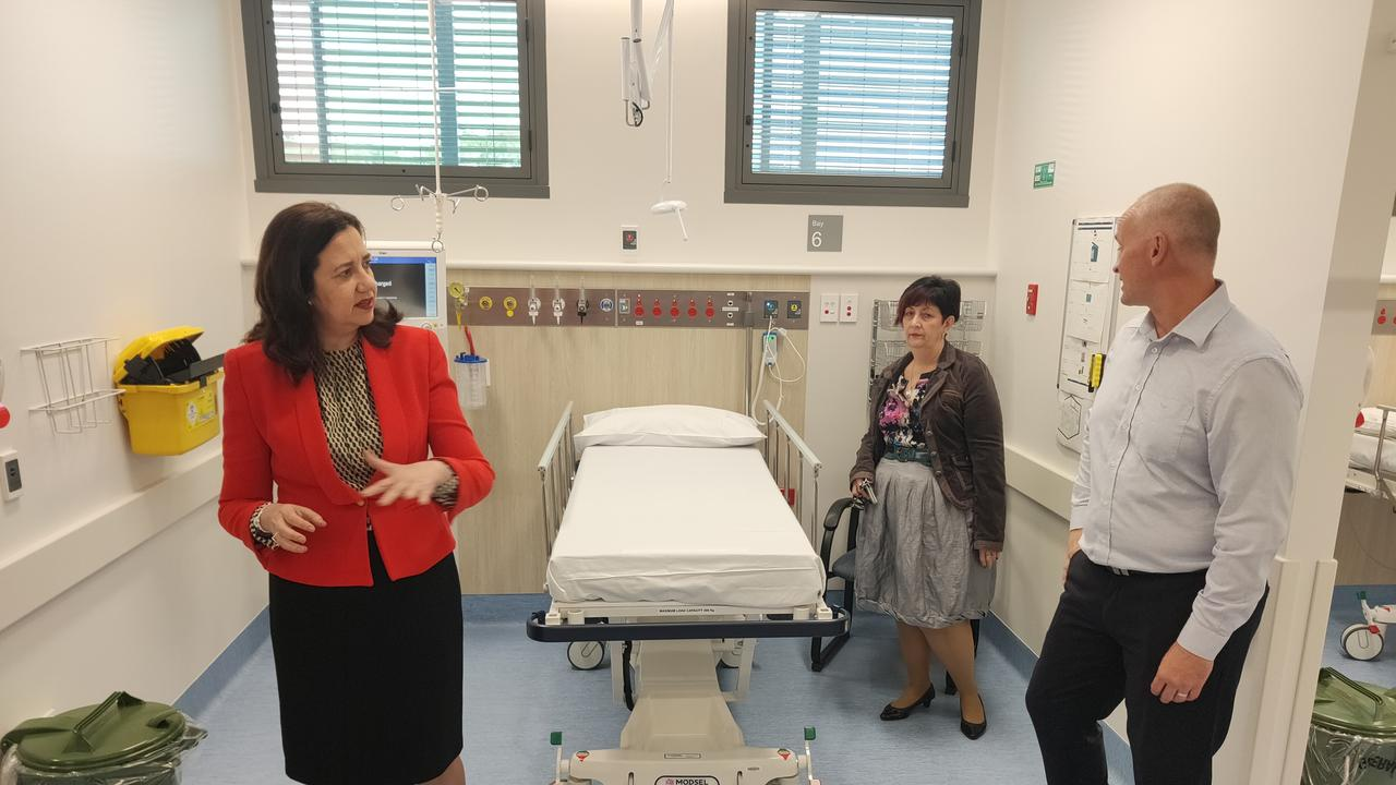 Premier Annastacia Palaszczuk inspects the new $42 million Gladstone Hospital emergency department with MP Glenn Butcher and Director of Nursing Sandy Munro.