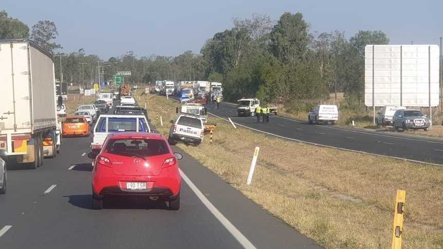 Traffic back up around the scene of the crash on the Warrego Highway at Helidon where two cars collided about 2.20pm.