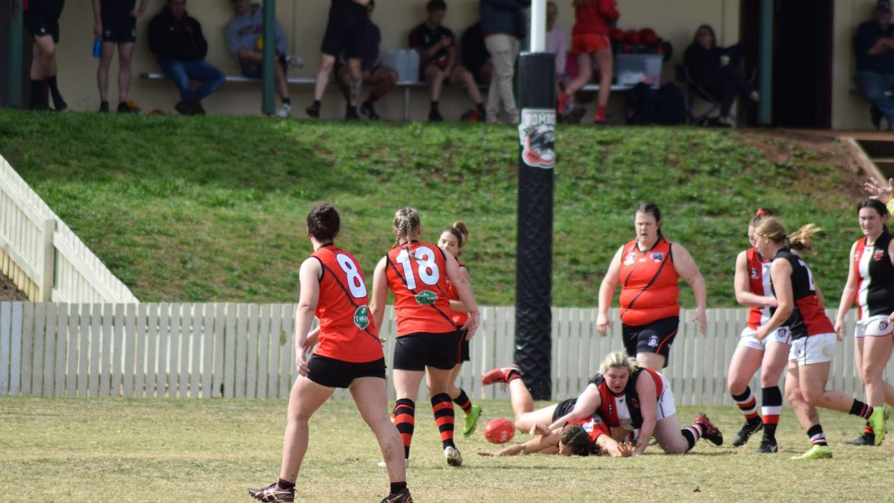 Rosie Ekyp making a strong tackle against the South Toowoomba Bombers. (Picture: Contributed)