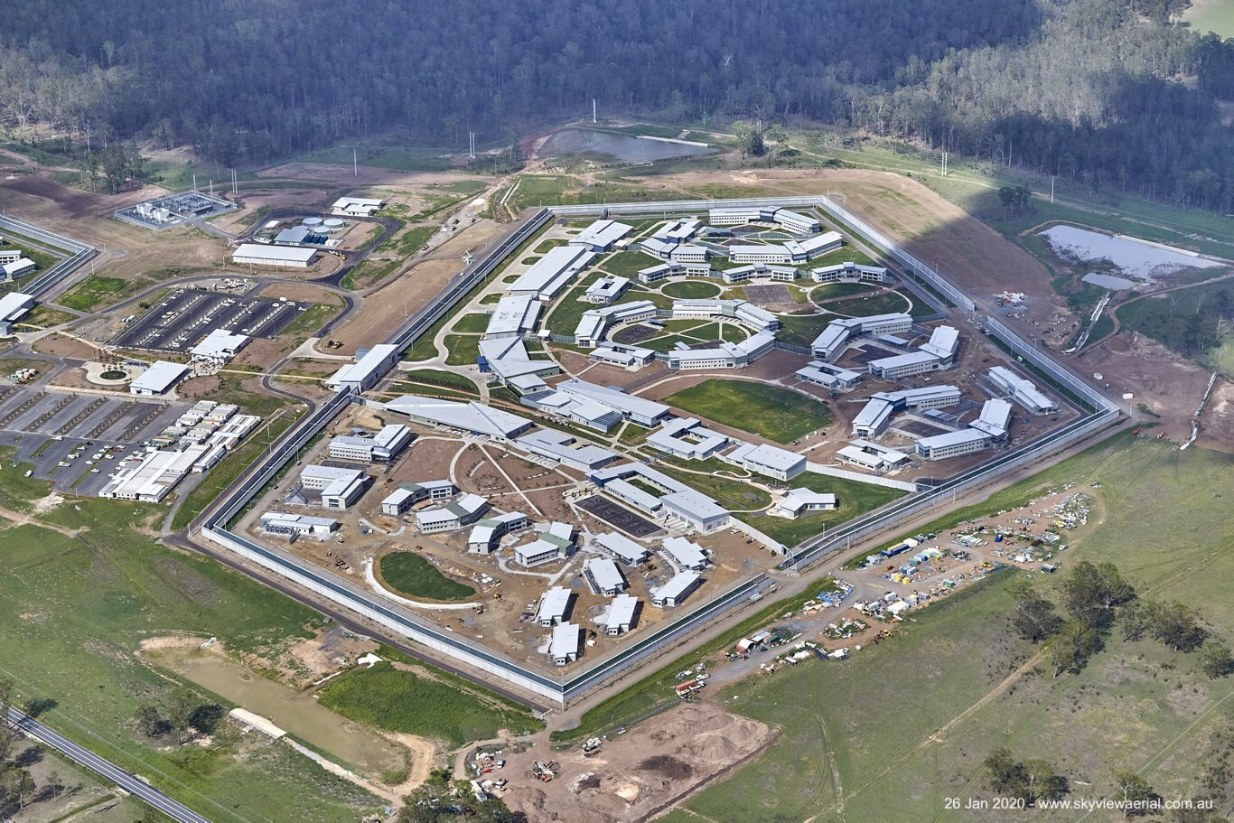Aerial view of the Clarence Correctional Centre after major works are complete. Photo: Simon Hughes.