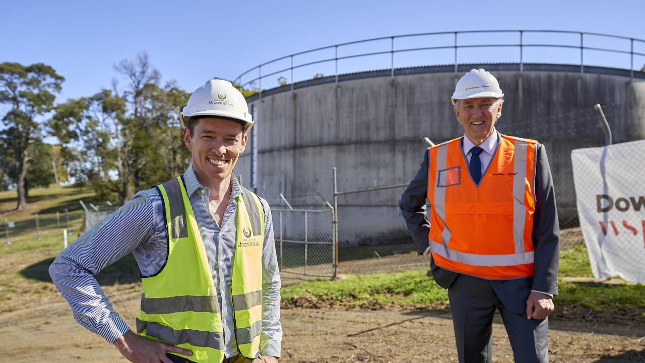 Urban Utilities manager for delivery regional Tristan Gray with Scenic Rim Regional Council mayor, Greg Christensen in Boonah.