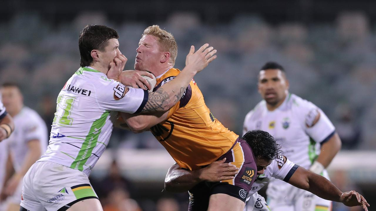 Thomas Flegler suffered a shoulder injury in the Broncos loss to the Raiders and needs surgery. Picture: Getty Images.