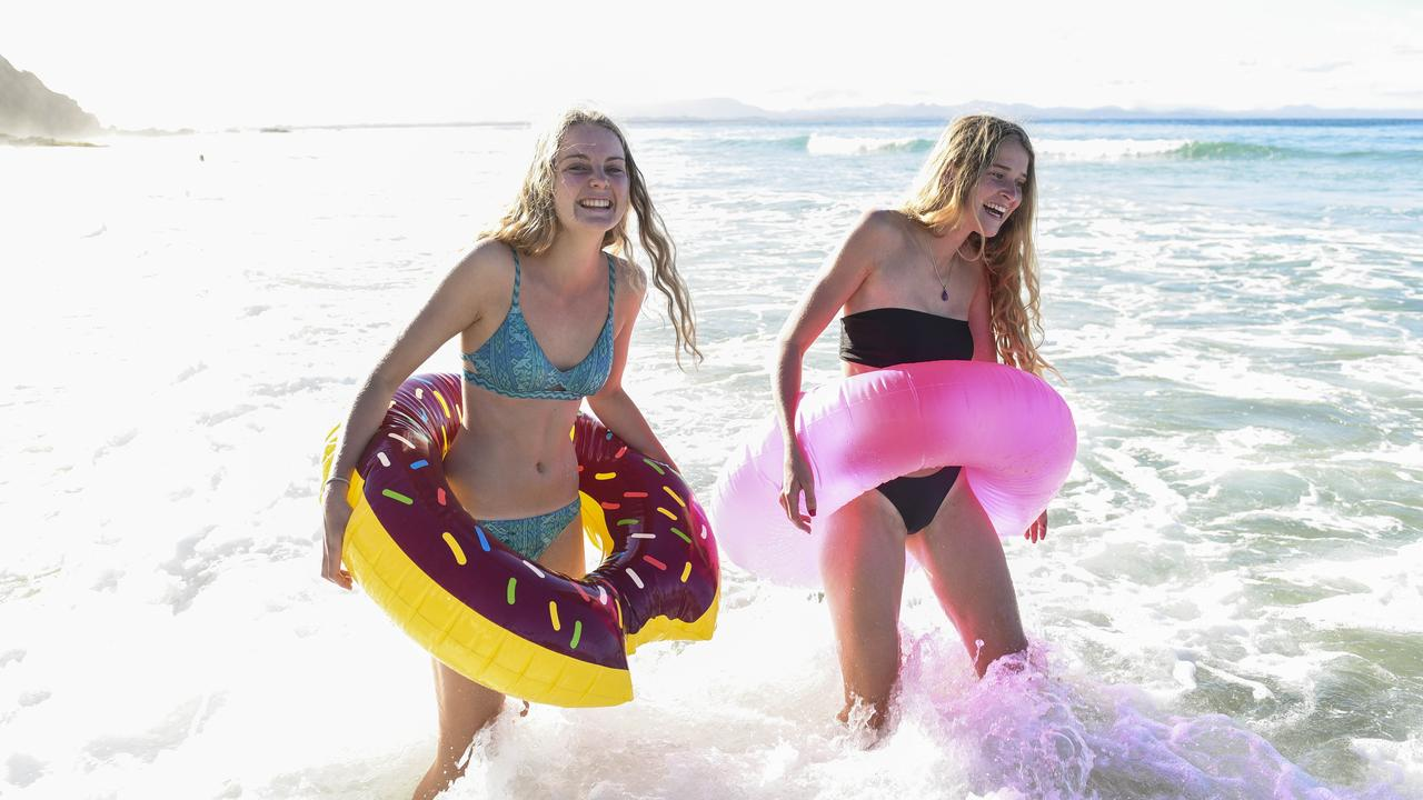 Byron Bay Schoolies 2017. Fun times at Wategos Beach Byron Bay. Alli Whitmore 17 and Amie Thomas 17. Photo: Darren Leigh Roberts