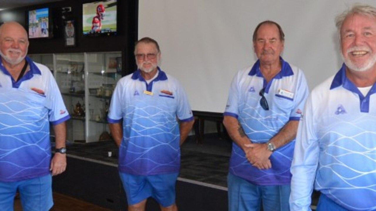 SENIOR CHAMPIONS: L to R. Geoff Mullen (Skip), Terry Lee, Wayne Bartlett, Steve Massey – Kingscliff – 2020 TBDBA Senior Fours Winners.