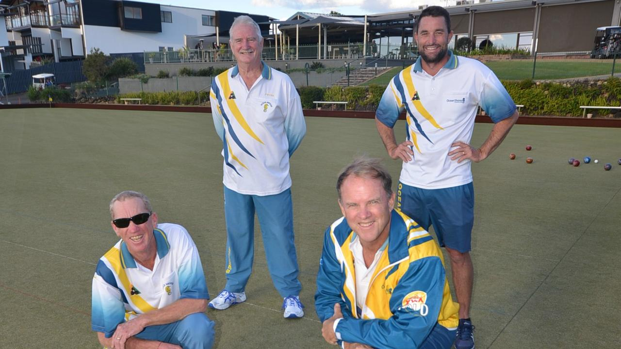 OCEANS OF TALENT: L to R. Standing – Peter Tornaros, Troy Makin (Skip), Front – Andrew Montgomery, Graeme Condie – Ocean Shores – 2020 TBDBA Open Fours Winners.
