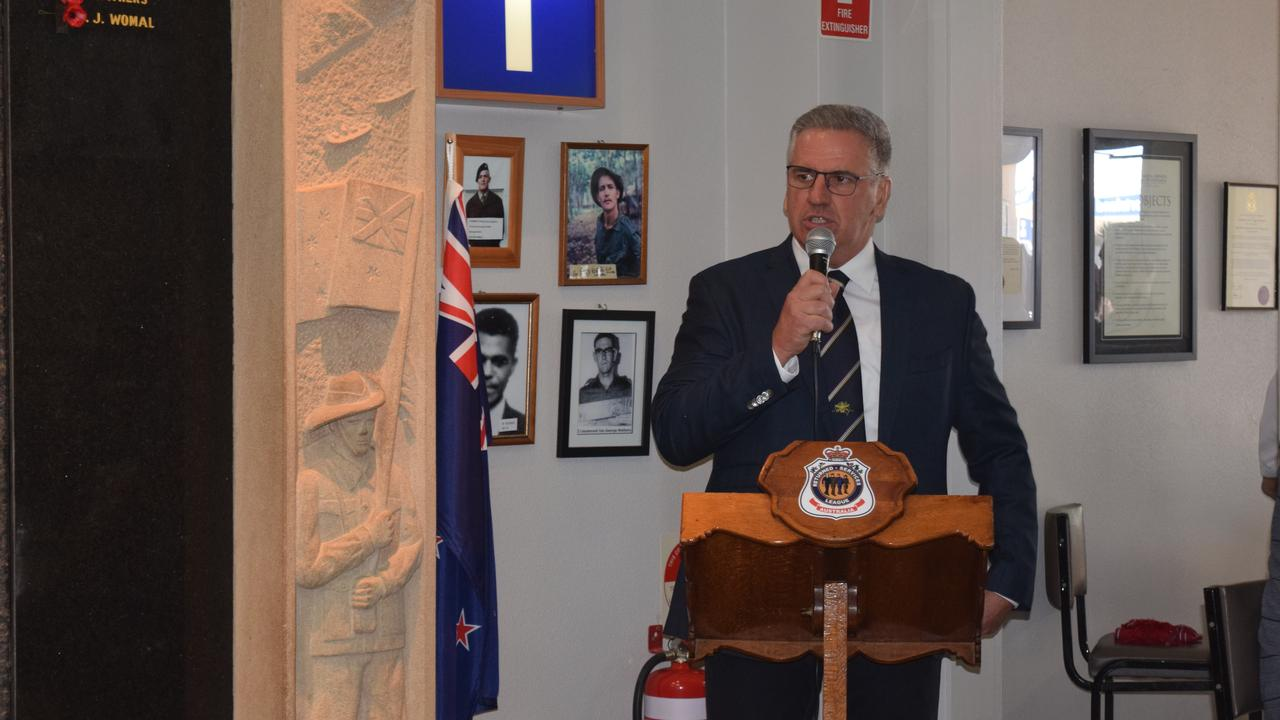 Burdekin MP Dale Last speaks about the Long Tan Cross at the Vietnam Veterans' Day service at Bowen RSL. Photo: Elyse Wurm