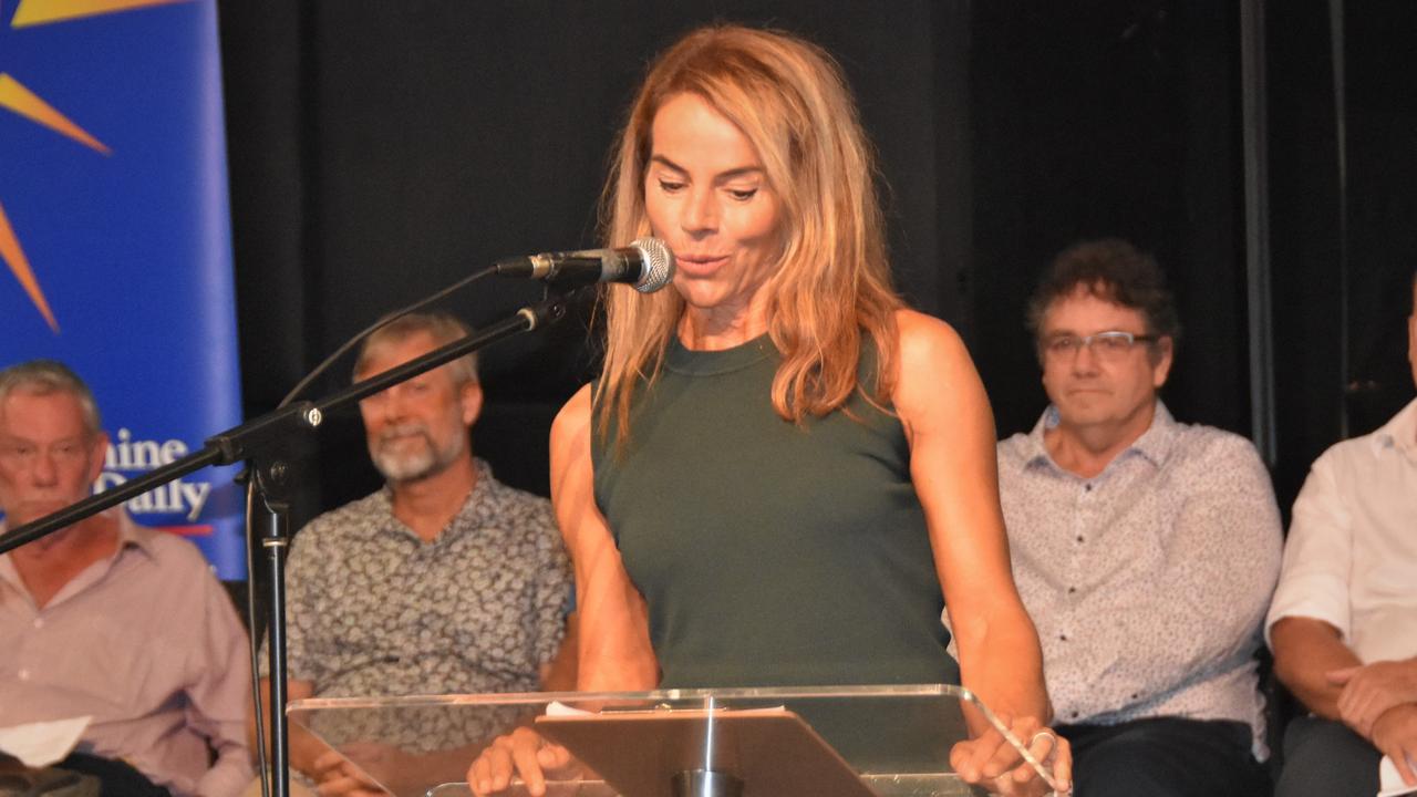 Cr Amelia Lorentson addresses a Sunshine Coast Daily election forum earlier this year. Photo: Caitlin Zerafa