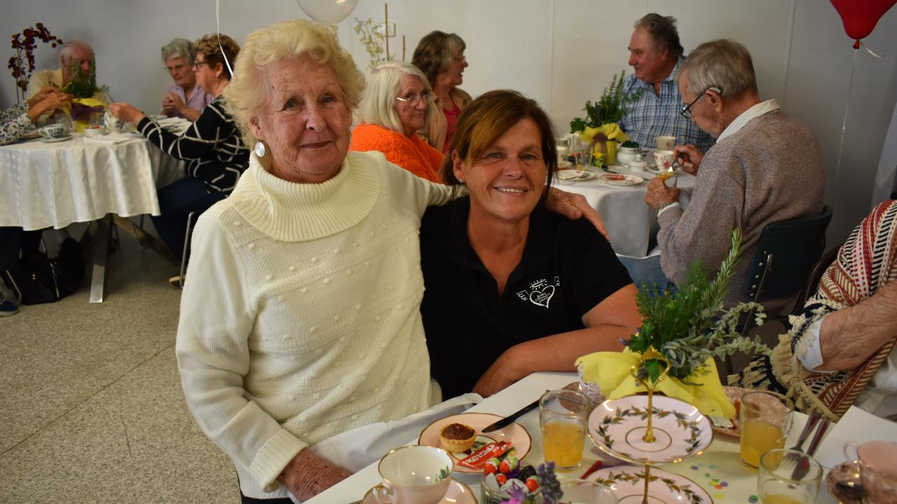 MUM AND DAUGHTER: Patricia Ellerton and Sue Tasker at the high tea, which was hosted by Angels Community Group. Picture: Rhylea Millar.