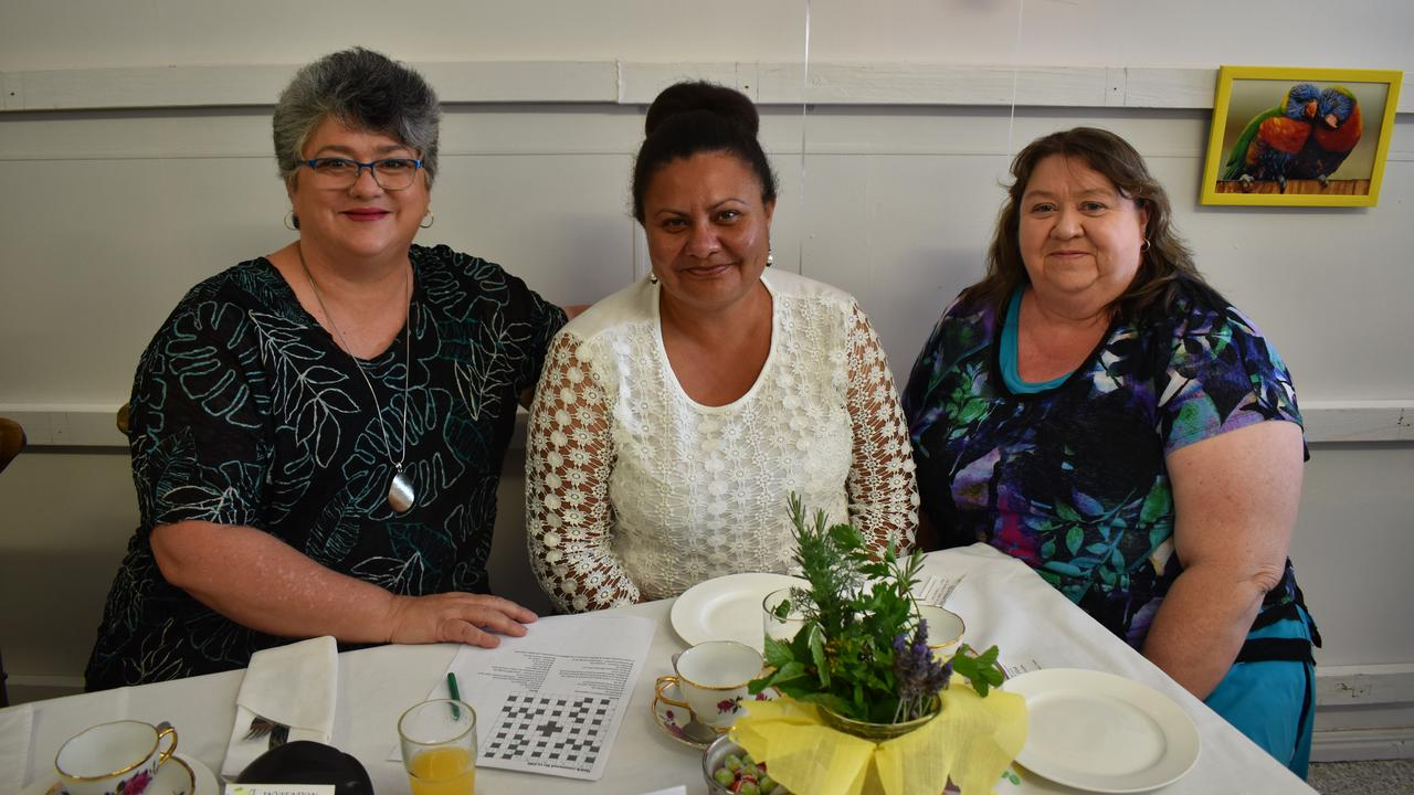 CUP OF TEA: Anne-Maree Clarkson, Emma Cross and Shiree Reed enjoying each other's company. Picture: Rhylea Millar.