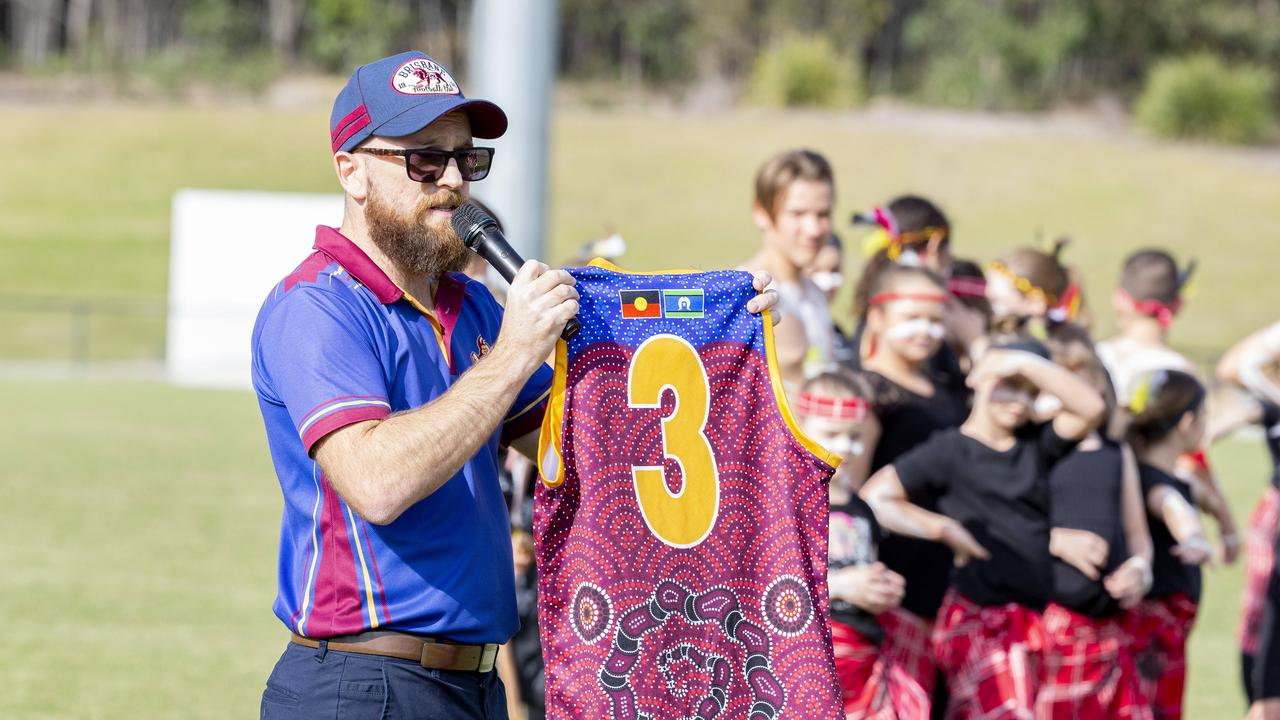 A previous Australian Rules jersey with the Aboriginal flag on it. Picture: Richard Walker/RDW Photography