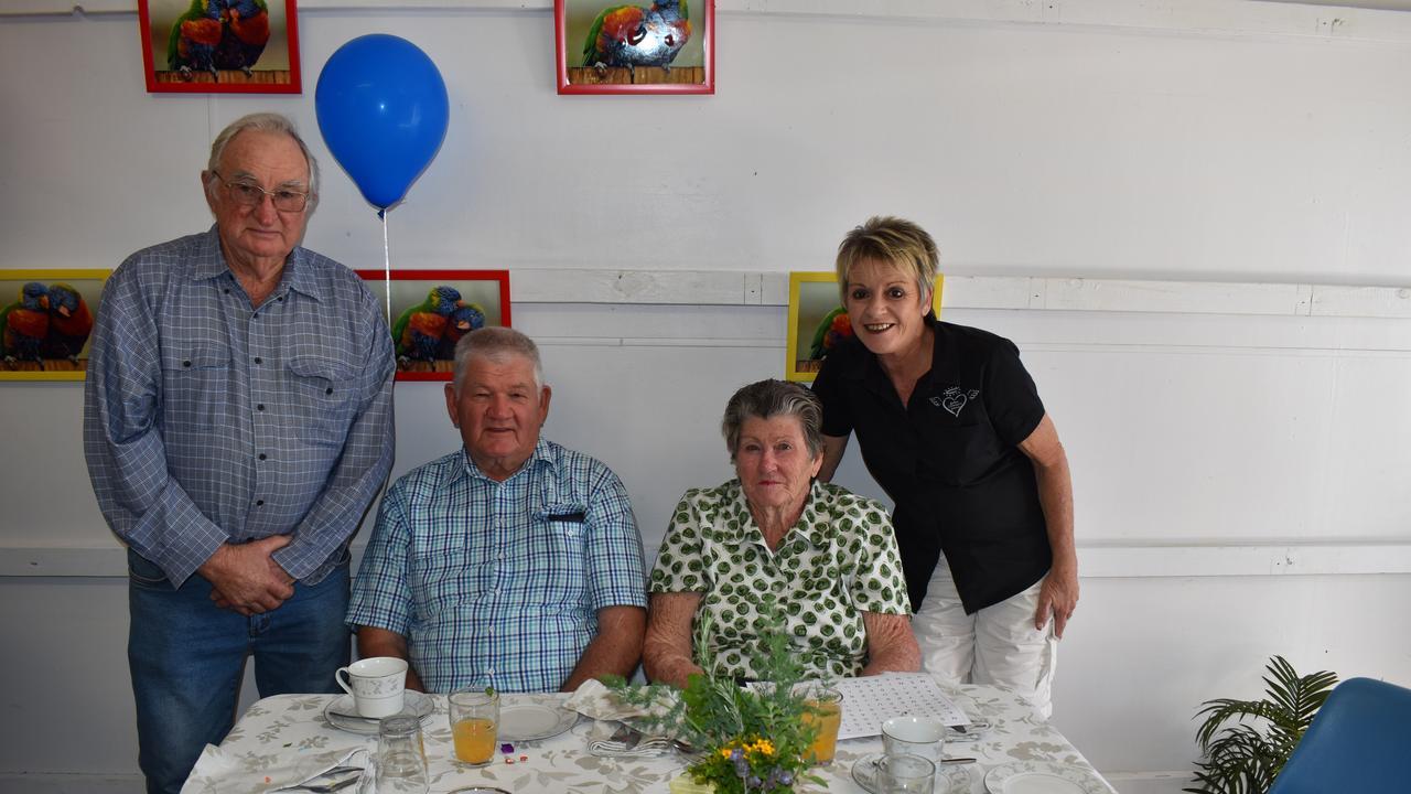 TEA-RIFFIC AFTERNOON: Fred Knickel, Bill Jiles, Judy Jiles and Gail Mole. Picture: Rhylea Millar.