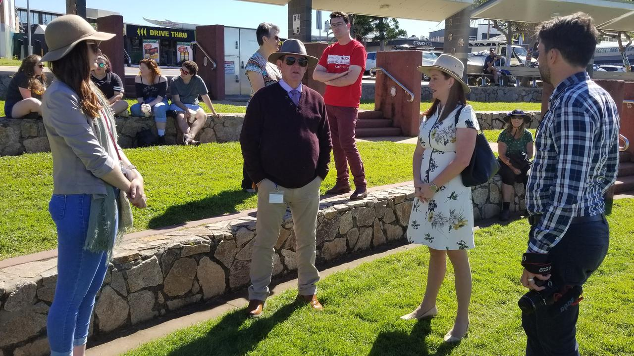 Member for Keppel Brittany Lauga (second from right) announced the GKI works in Yeppoon today.