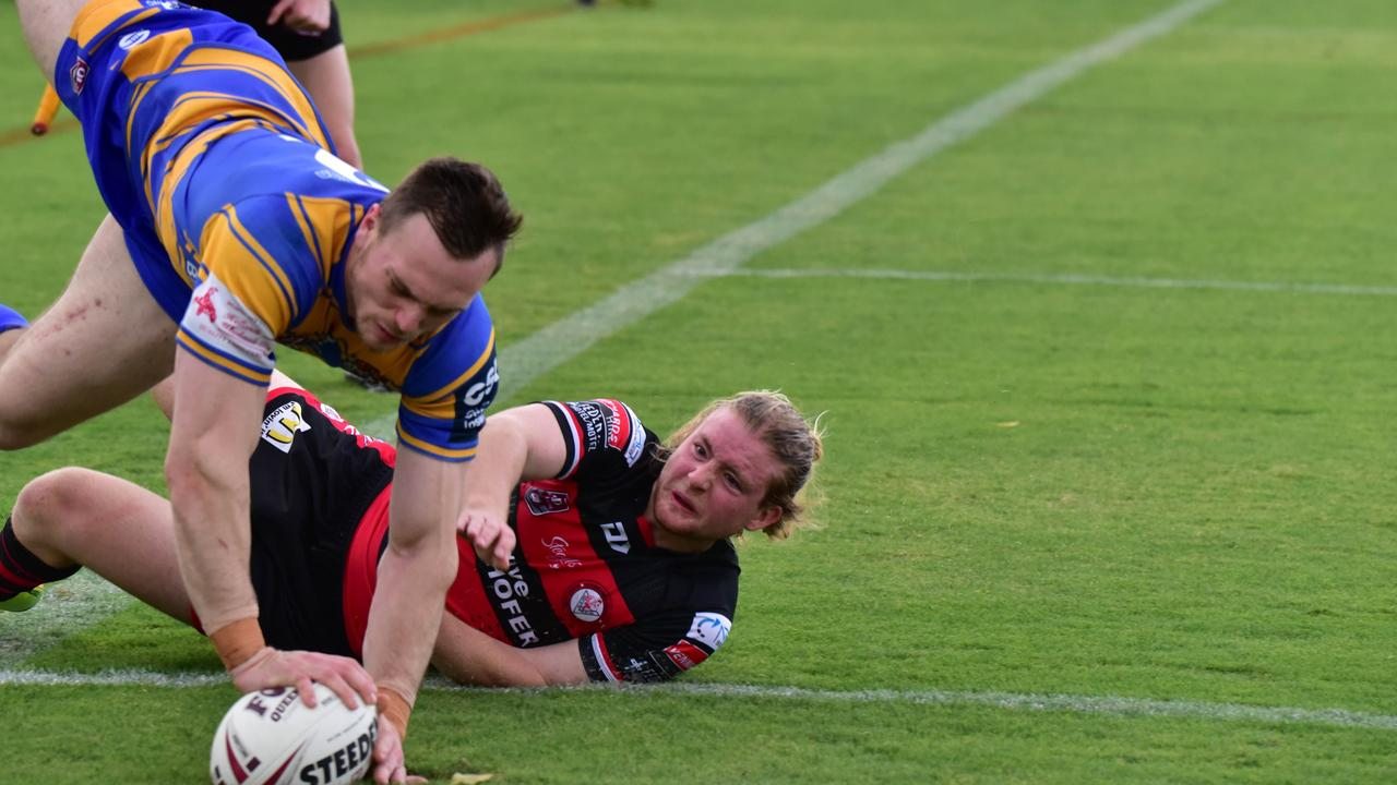 Acrobatic Tigers winger Jonathon Plumb scored one of the tries of the season during a spectacular opening three rounds of Volunteers Cup matches at the North Ipswich Reserve. Picture: Bruce Clayton