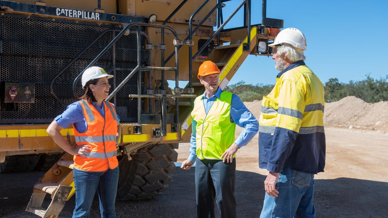 LNP Opposition leader Deb Frecklington with Member for Lockyer Jim McDonald at Rock Trade Industries Helidon. PHOTO: ALI KUCHEL