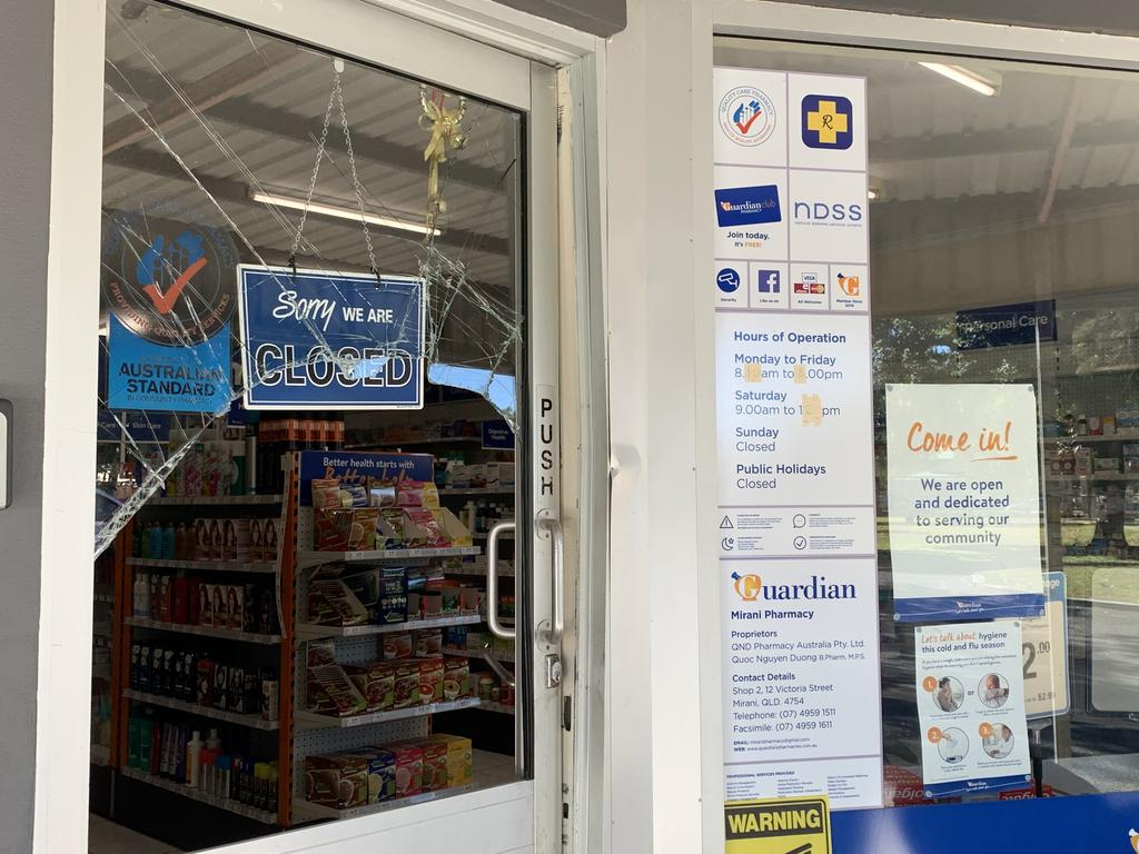 The damage to the Guardian Pharmacy Mirani at Victoria St after it was broken into overnight. Picture: Heidi Petith