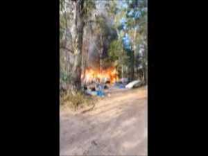 Makeshift home destroyed by fire