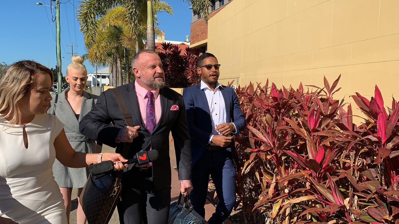 Ben Barba with his solicitor Campbell MacCallum arrive at Mackay Magistrates Court. Picture: Janessa Ekert