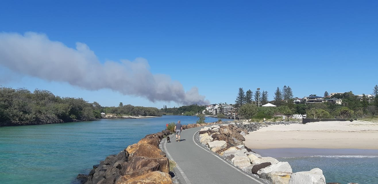 Smoke from the Duranbah fire, visible from the coast.