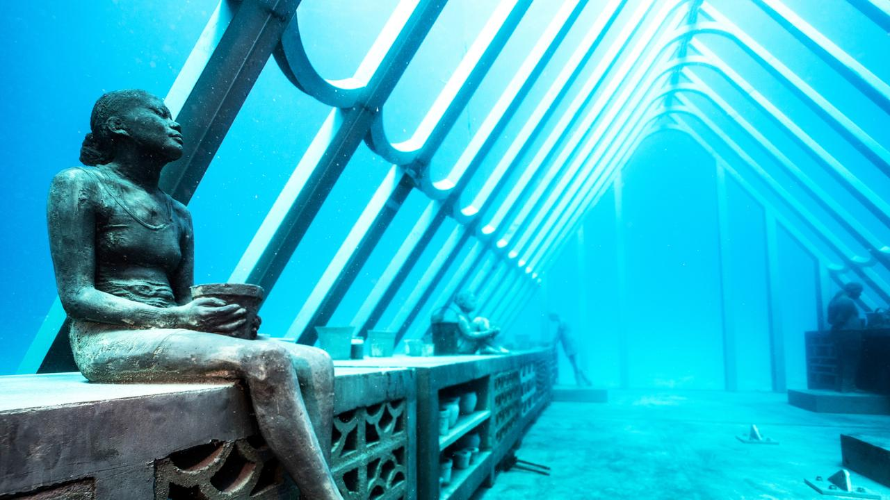 stage one of the Museum of Underwater Art (MOUA) in Townsville North Queensland will officially launch with tours commencing to the Coral Greenhouse installation at John Brewer Reef. CREDIT: Jason deCaires Taylor ESCAPE AUGUST 16 2020 ISSUE NEWS & VIEWS