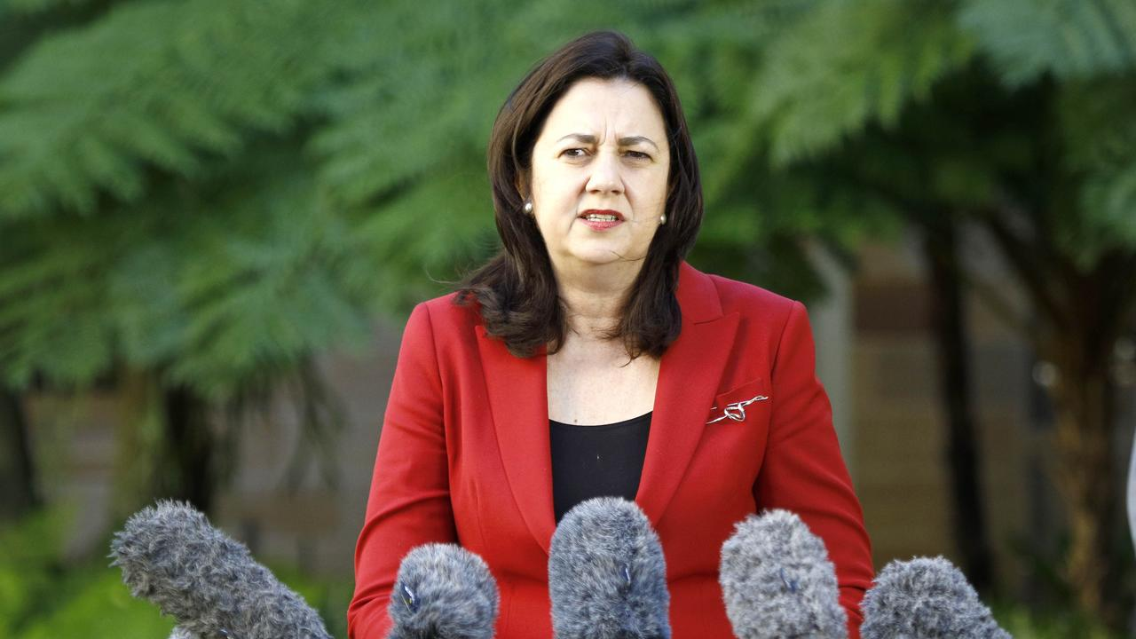 Queensland Premier Annastacia Palaszczuk during a press conference in Brisbane. Picture: NCA NewsWire/Tertius Pickard