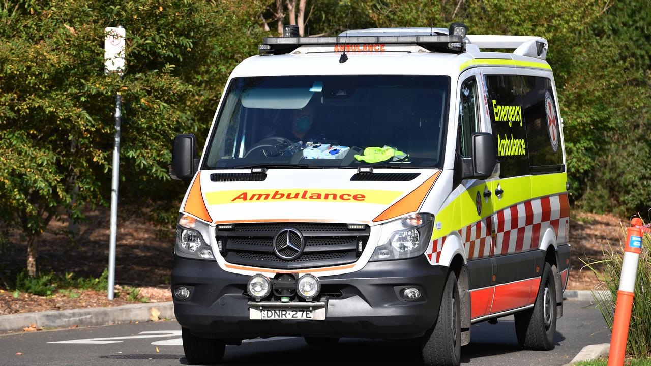 An ambulance leaves Newmarch House in May. Picture: AAP Image/Dean Lewis