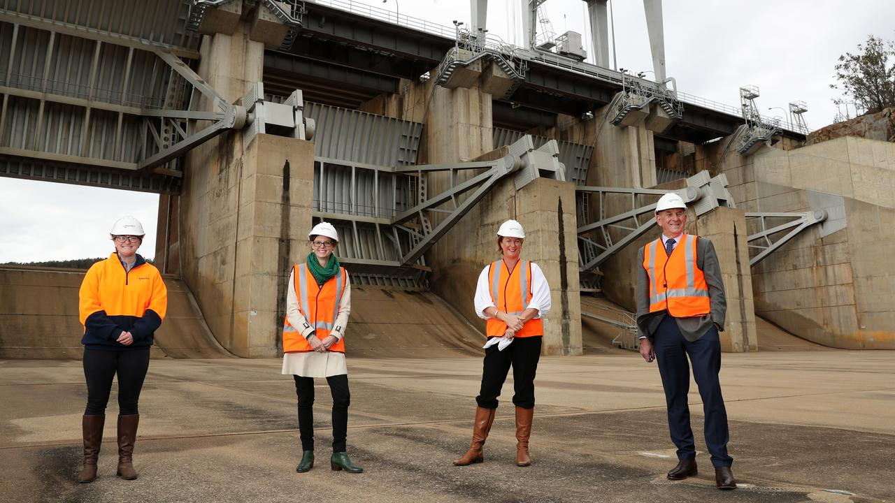 Water NSW's Alice Jarrett, Cootamundra MP Steph Cooke, Minister for Water, Property and Housing Melinda Pavey and Cowra mayor Bill West at Wyangala Dam. Picture: Jonathan Ng