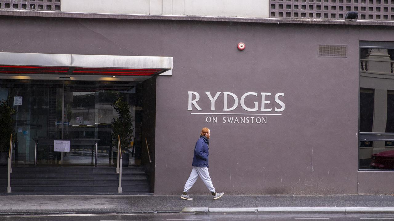 Rydges on Swanston was used to quarantine returned travellers. Picture: Wayne Taylor
