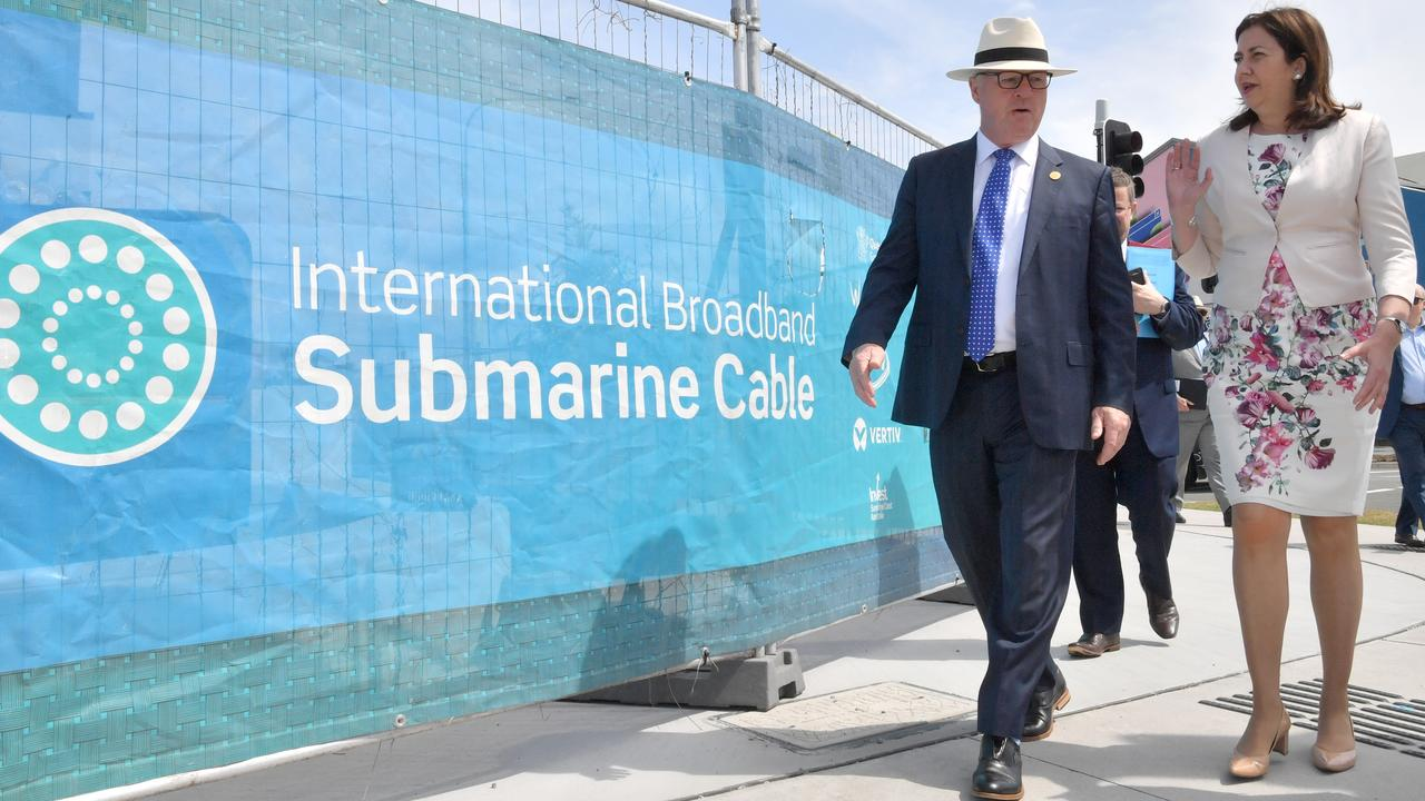 The Honourable Annastacia Palaszczuk and Sunshine Coast Mayor Mark Jamieson at the opening of the submarine cable network in Maroochydore. Photo: John McCutcheon