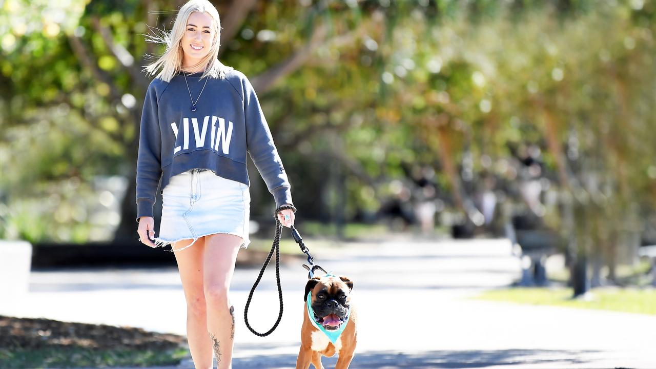 Samantha Armstrong and her dog Jax walking to raise money for Beyond Blue. Photo: Patrick Woods
