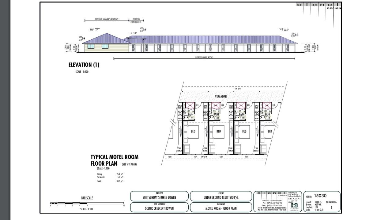 Designs of the motel at the proposed holiday park.