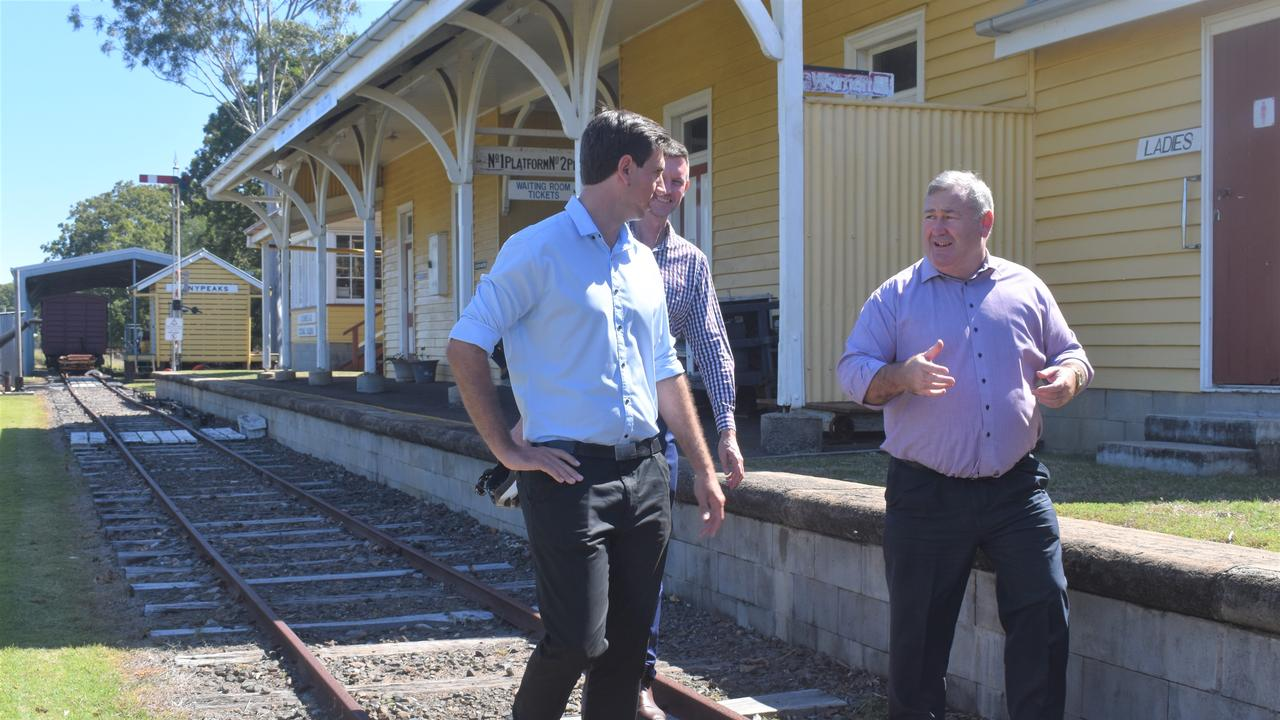 Transport and Main Roads Minister Mark Bailey with Bundaberg Mayor Jack Dempsey and Labor candidate Tom Smith.